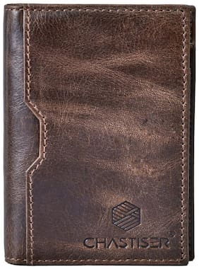 CHASTISER Unisex Leather Card holder - Brown , Pack of 1