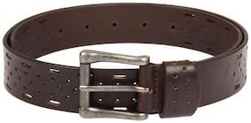 Chocolate brown colour perforation designed men leather belt