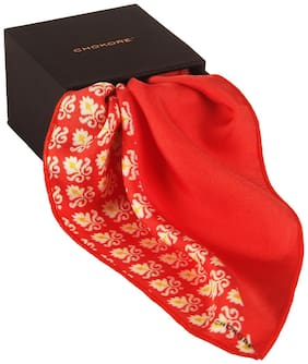 Chokore Two-in-one Red & White Silk Pocket Square - Indian At Heart Line