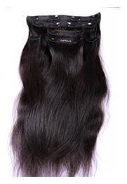 Capillatura Clip On Hair Extensions - Human Hair - Natural Black - 18 inch - 80g-Straight