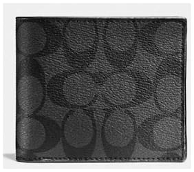 Coach Authentic Double Billfold Wallet in Signature C Black Coated Canvas NWT