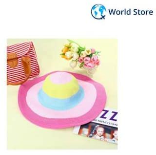 Magideal Colorful Wide Brim Beach Summer Floppy Straw Sun Hat For Women 44746b5a9cd