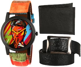 Combo of Stylish Formal PU Black Belt With Wallet And Get Stylish And Funky Analog Watch