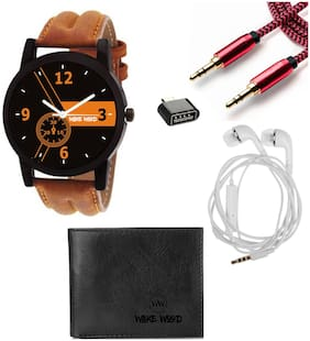 Combo of Watch + Wallet + Ear Phone + Aux Cable + OTG