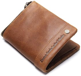CONTACTS Mens Genuine Leather RFID Blocking Wallet Beige