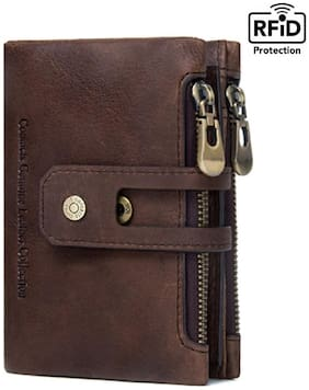 Contacts Men Brown Leather Bi-Fold Wallet ( Pack of 1 )