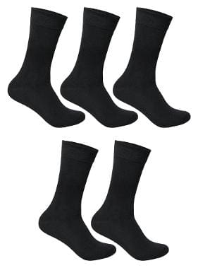 Cotson Black Cotton Calf length socks ( Pack of 5 )