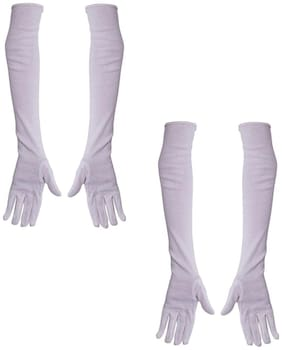 Cotson Men's Bike & Activa Riding Summer Tanning Protection Gloves - White (pack Of 2 Pair)