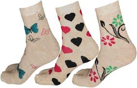 Women Calf Length Socks Pack of 3 ( Beige )