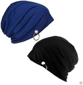 Cotton Steel Black Blue Slouchy Beanie Cap for Winter;Summer;Autumn & Spring Season;Can be used as a Helmet Cap 2 pcs