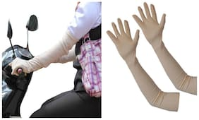 CozySoft Long Sleeve Sun Protect Cotton Gloves - Skin/Fawn