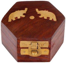 CRAFT ART INDIA-Decorative  Small Wooden Jewellery Box / Jewelery Box / Storage Box with Embossed Brass Design {Size(Inch):1.77x3x2.72 /79 GR/CHD328}