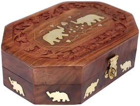 CraftShoppee Elephant Decor Handmade Wooden Jewellery Organizer Box for Women