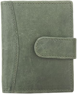 CRAFTWOOD Men Leather Card holder - Green , Pack of 1