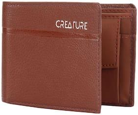 Creature Men Tan Leather Bi-Fold Wallet ( Pack of 1 )