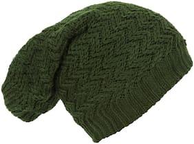 Creature Green Color Unisex Woolen Woven Beanie & Skull Caps (BCAP-006)