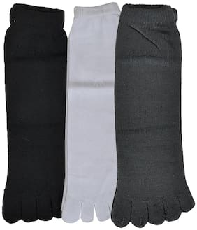 Crux&hunter cotton assorted five finger ankle socks for womens pack of 3