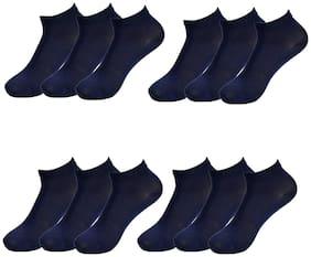Crux&hunter cotton spandex plain low ankle unisex socks pack of 12(colour=navy)