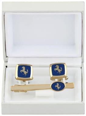 cufflinks horse blue royal cufflinks Brass cufflinks and tie pin set