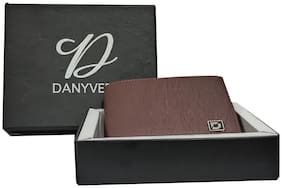 DANYVER Men Brown Leather Money Clip Wallet ( Pack of 1 )
