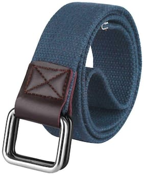 DAVIDSON Men Blue Canvas Belt (Size: 36 , Pack of 1 )