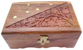 Desi Karigar Wooden Jewellery Box Handicrafted Flower Carving Gift, 6 inch