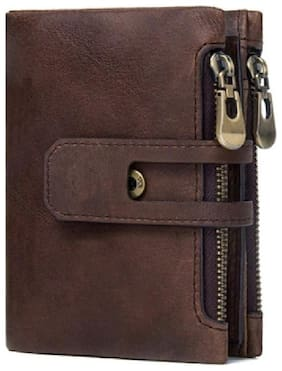 DIDE Genuine Leather Wallet Premium Men's Bi-folding, Multi Card Holder with Zipper Side Coin Pouch