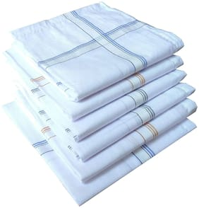 DINAMIC White Cotton Handkerchiefs ( Pack of 6 )
