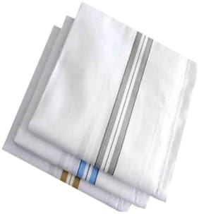 DINAMIC White Cotton Handkerchiefs ( Pack of 3 )