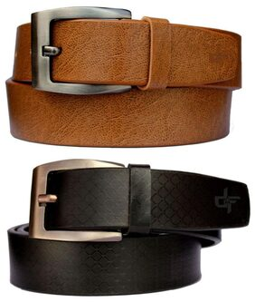 Discover Fashion Black & Tan Belts Combo (Pack of 2)