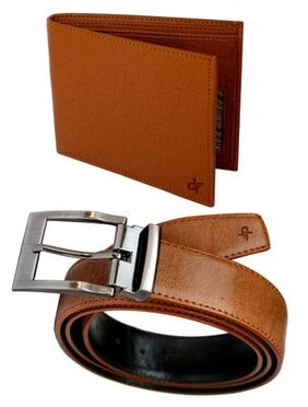 Discover Fashion Tan Pu Leather Belt Wallet Combo of 2