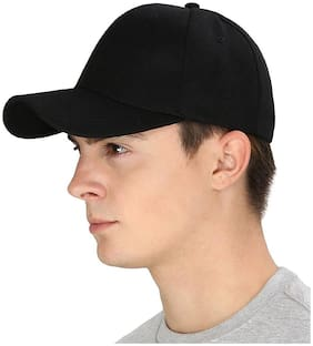 DRUNKEN Men's Acrylic Plain Velcro Baseball Cap For Hunting, Fishing, Outdoor Activities Black Freesize