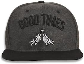DRUNKEN Men's Winter Cap Good Times Fleece Snapback Hip Hop Cap Dark Grey Freesize Warm Cap