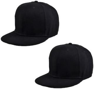 DRUNKEN Pack Of 2 Men's Cotton Stylish Adjustable Freesize Cap Color (Black)