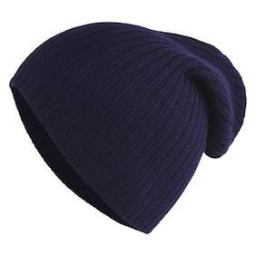 d0bc9ec1cdc055 DRUNKEN Unisex Winter caps for Men and Winter Cap for Women Slouchy Woollen  Winter Beanie Blue