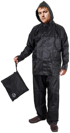 Duckback Black Solid Men's Rain Coat- Size (XXL)