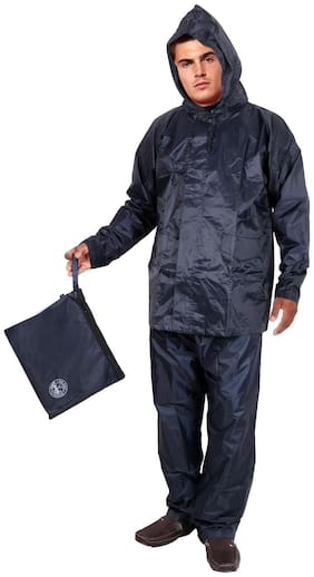 Duckback Blue Solid Men's Rain Coat- Size (XXL)