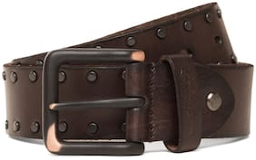 ED Hardy Men Brown Leather Belt (Size: 32 , Pack of 1 )