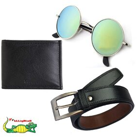 Elligator Men's Belt Wallet and Sunglass Summer Special Combo