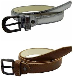 Women Synthetic Belts ( Silver;Khaki )