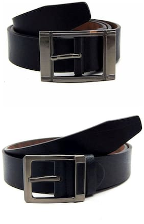 Els Black Synthetic Leather Belts For Men