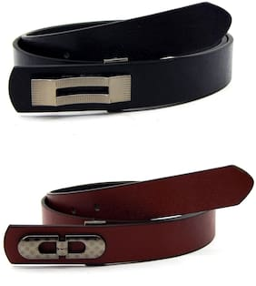 Els Men & Women Faux Leather Belt;Pack Of 2;Black & Tan