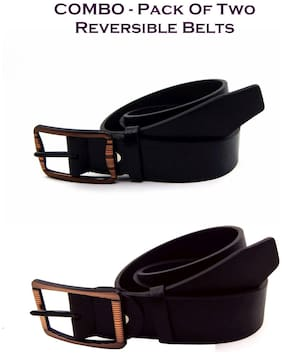 Els Men Black & Brown Reversible Synthetic leather Belt (Size: 38 , Pack of 2 )