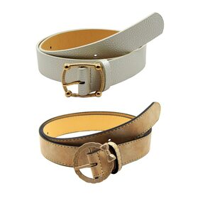 els Women;Girls Leather Finish Waist Belt;Pack Of Two-Beige;White