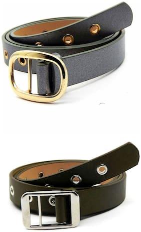 Women Synthetic Leather Belts ( Silver;Green )