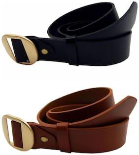 Els Women Leather Belt - Black & Beige