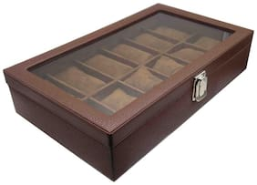 Essart Faux Leather grainy desinger print Watch Box 15slots , removable cushions , Transparent lid feature with Lock closure - Brown