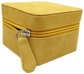 Essart Faux Leather suede finish  long cubic shaped vanity /Jewellery/Earring Box with zipp closure - 1603-Yellow