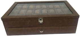 Essart Faux Leather Double Story Watch Box with Turn Lock Closure for 48 Watches - Tan
