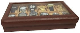 QADIER Men Synthetic leather Watch cases - Brown